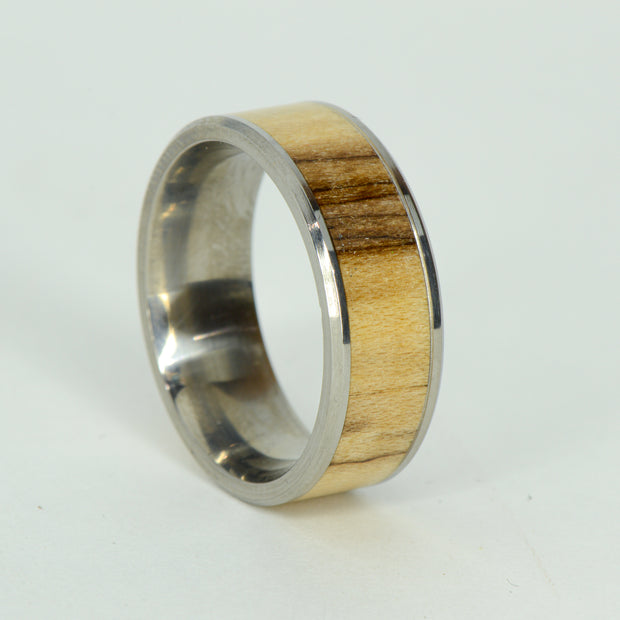 SALE RING -  Titanium, Maple Wood - Size 10