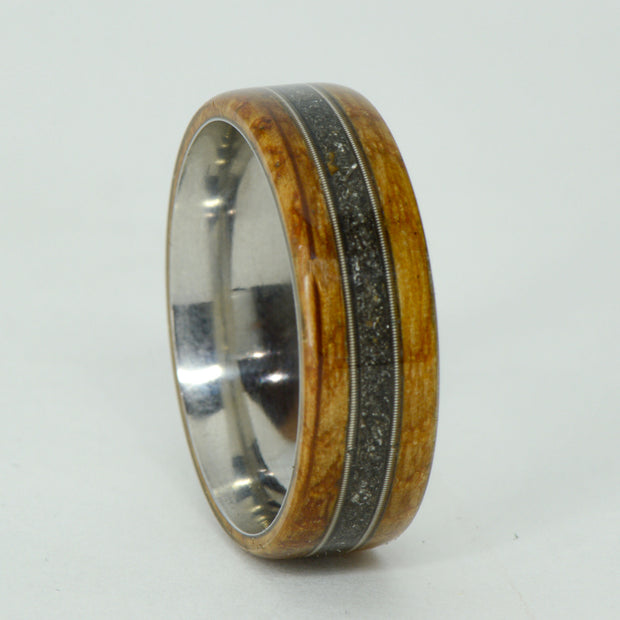SALE RING -  Titanium, Jack Daniels Barrel Wood, Guitar Strings, Meteorite - Size 12.25