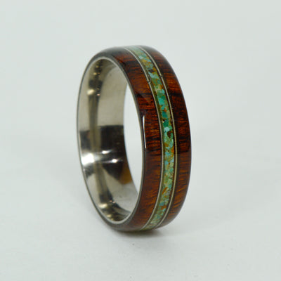 SALE RING -  Titanium, Ironwood, Green Turquoise, Guitar Strings - Size 13.75