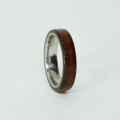 SALE RING - Titanium, Koa Wood - Size 4