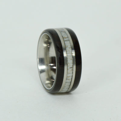 SALE RING -  Titanium, Blackwood, Antler - Size 4