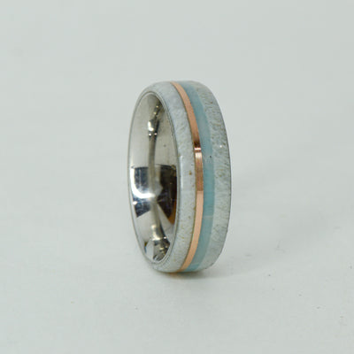 SALE RING -  Titanium, Antler, Rose Gold, Larimar - Size 6.5