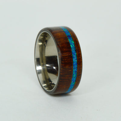 SALE RING -  Titanium, Koa Wood, Blue Opal - Size 8