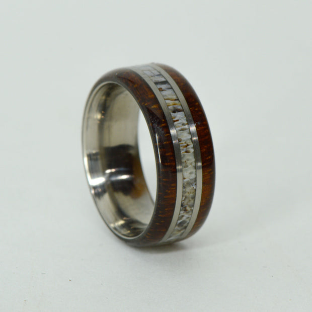 SALE RING -  Titanium, Koa Wood, Antler - Size 8