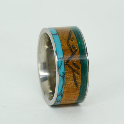 SALE RING -  Titanium, Jade, Koa With Mountain Engraving, Turquoise - Size 9.25