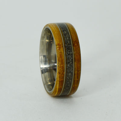 SALE RING -  Titanium, Jack Daniels Barrel Wood, Guitar Strings, Meteorite - Size 9.5