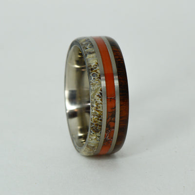 SALE RING -  Titanium, Antler, Dinosaur Bone, Ironwood - Size 9.75