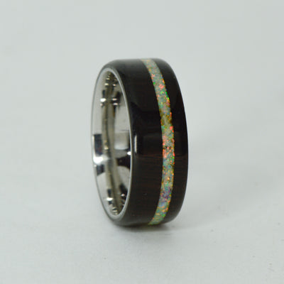 SALE RING -  Titanium, Blackwood, White Opal - Size 9