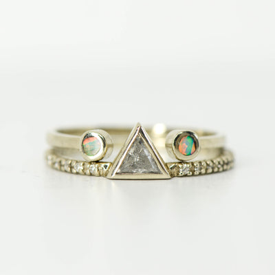 SALE RING - White Gold Triangle Diamond with White Opal Split Stacking Band - Size 5.5