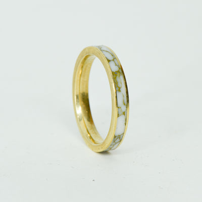 SALE RING - Yellow Gold, Marble with Gold Veins - Size 7