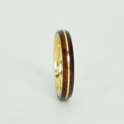 SALE RING - Yellow Gold, Koa Wood - Size 9.25