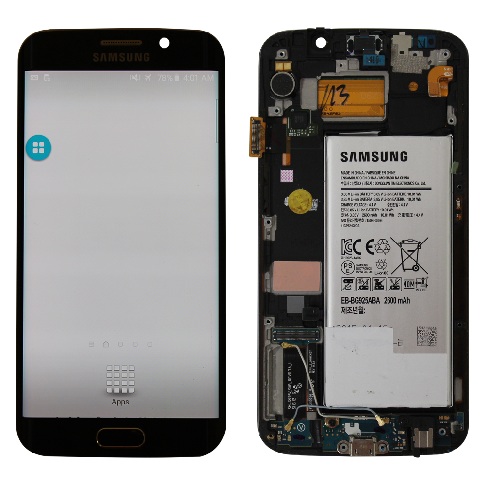 LCD and Touch Screen Digitizer with Frame for Samsung Galaxy S6 Edge Verizon Blue OEM Pull - Tiny dust