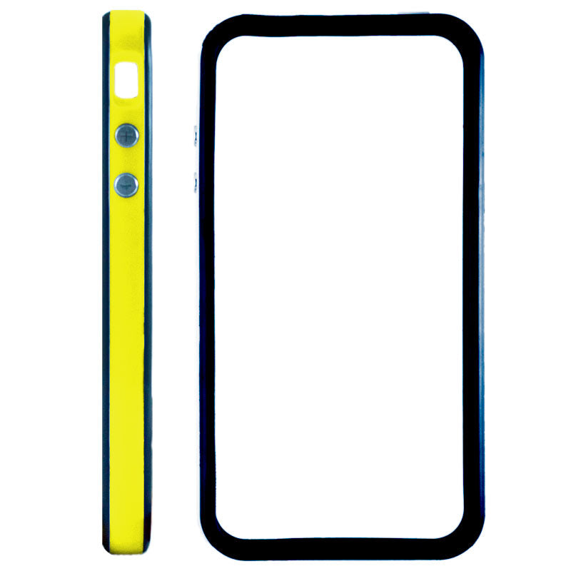 Bumper Case with Metal Keys for iPhone 4 4S Yellow and Black