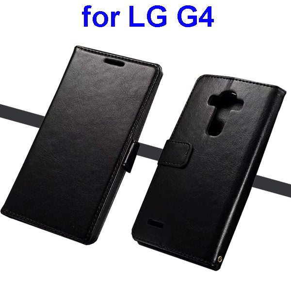 Wallet Flip Stand Leather Phone Case Cover for LG G4 - Black