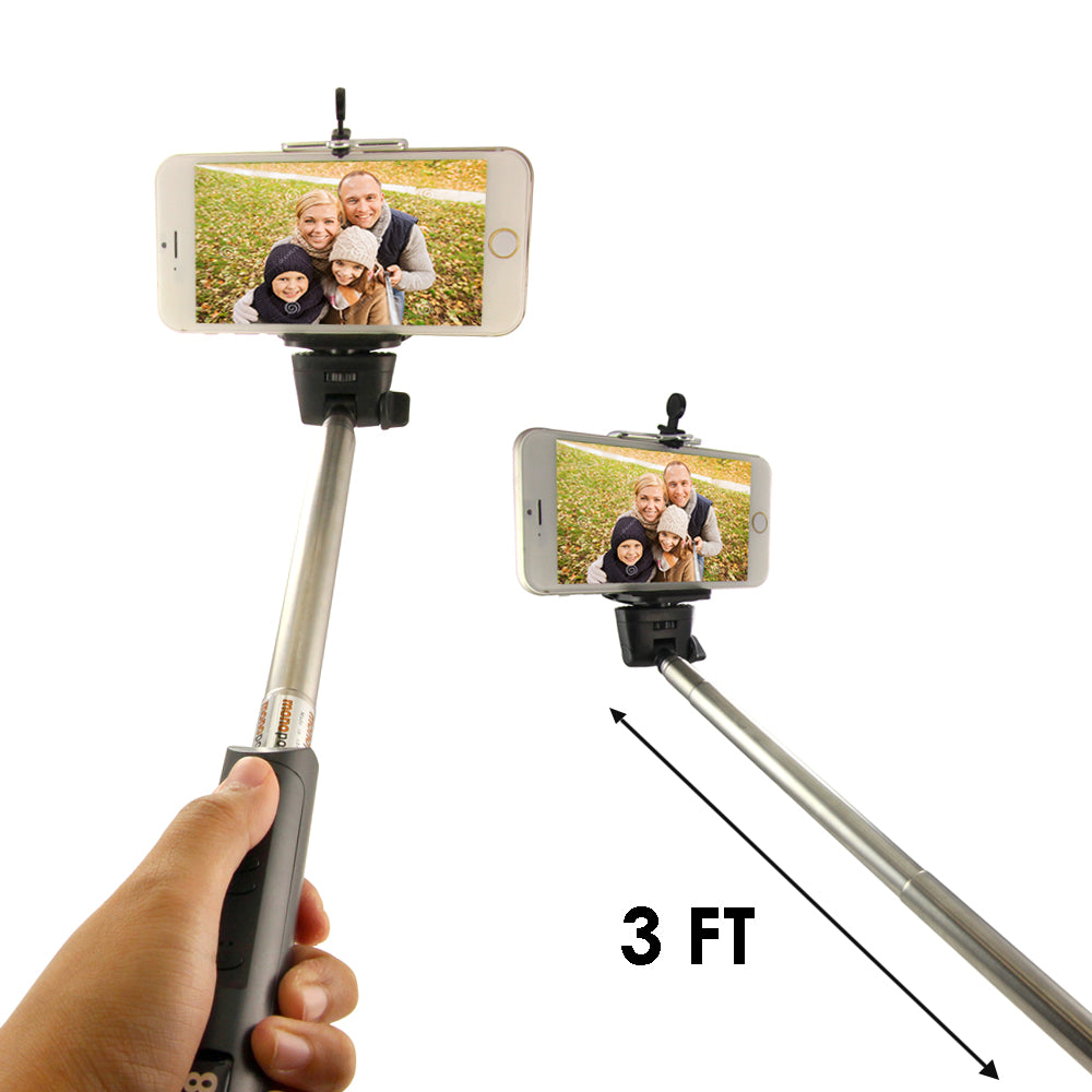 3 Foot Extendable Wireless Selfie Stick With Built-In Bluetooth Remote Shutter