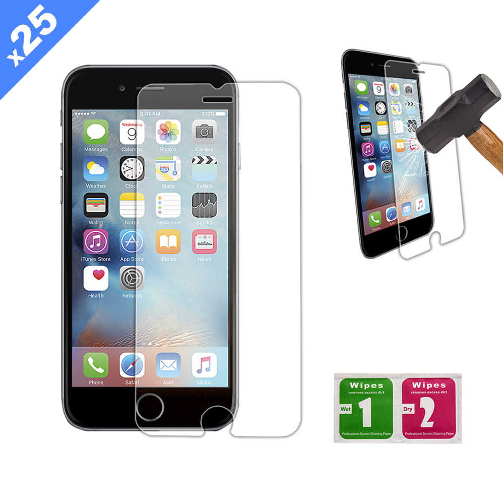 iPhone 6/6S/7/8 Tempered Glass Screen Protector with Cleaning Kit - Pack of 25 - (Premium)