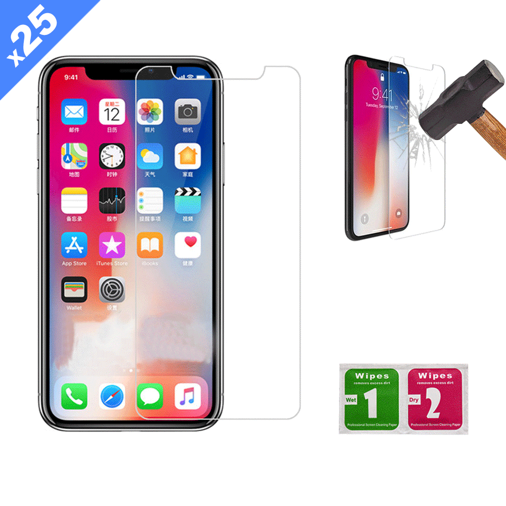 iPhone XR / 11 Tempered Glass Screen Protector with Cleaning Kit (Pack of 25) - (Premium)