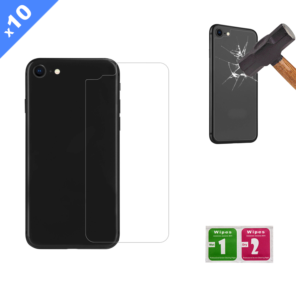 iPhone 8 Back Tempered Glass Screen Protector with Cleaning Kit (Pack of 10) - (Premium)
