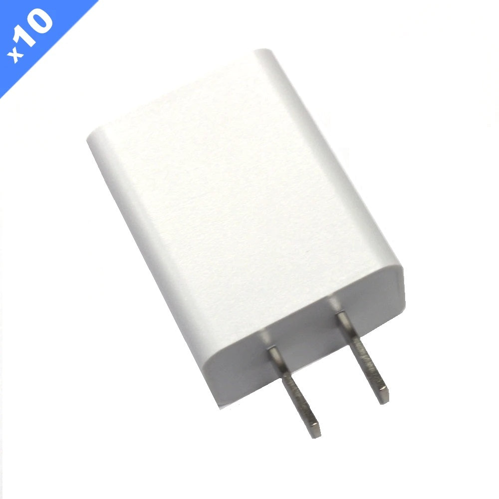 1 Amp USB Wall Charger CE/FCC Certified - White (Pack of 10)