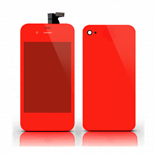LCD and Digitizer Assembly for GSM iPhone 4 Full Set Red Mirror