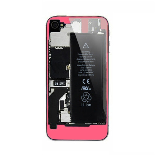 Back Clear Transparent Glass Housing Plate Cover for ATT GSM iPhone 4 Pink