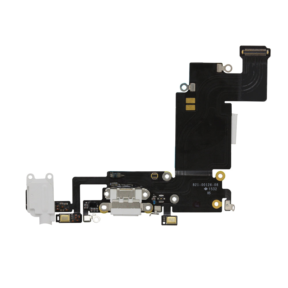 Charging Port and Headphone Jack Flex Cable for iPhone 6s Plus White / Silver