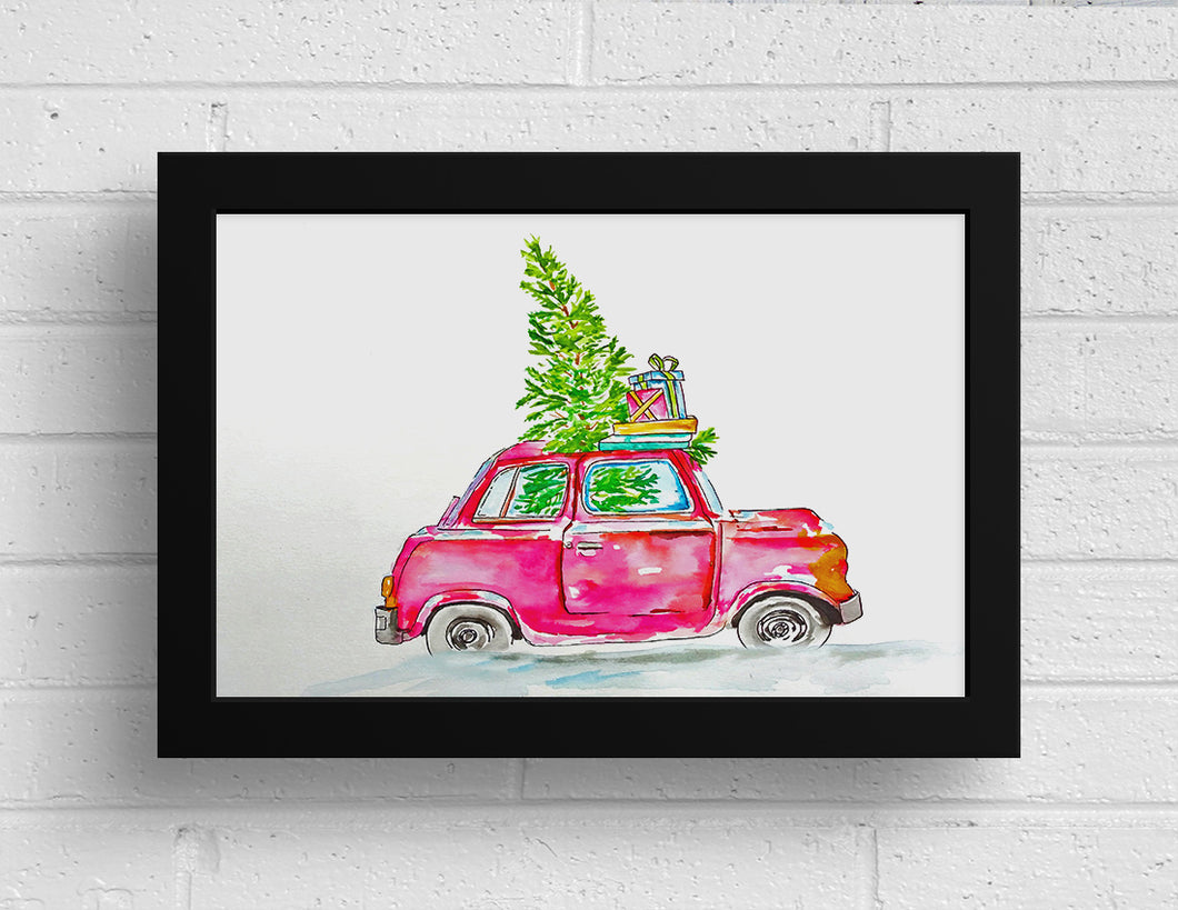 Christmas Card Printable - Vintage Beetle in Snow