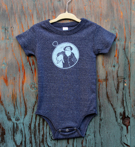 Heather Navy Captain Doug Baby Onesie
