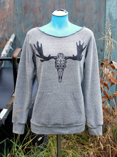 Women's Grey Day of the Dead Moose Scoop Neck Sweatshirt