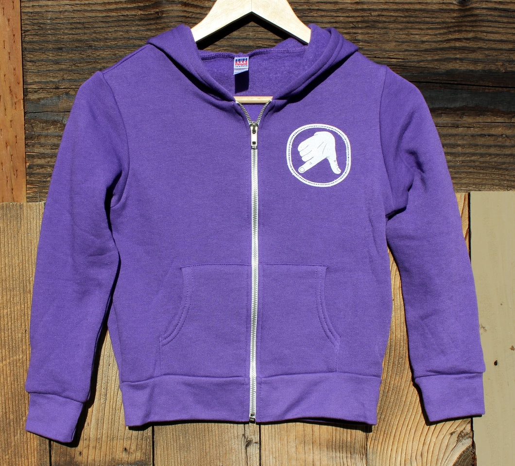 Youth Purple Captain Doug Zip-Up Hoodie