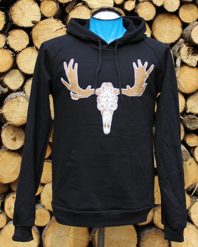 Unisex Black Day of the Dead Moose Pullover Hoodie