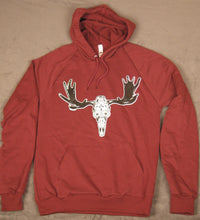 Unisex Maroon Day of the Dead Moose Pullover Hoodie