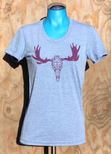Women's Powder Blue Day of the Dead Moose Tee