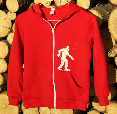 Youth Red Yeti Zip-Up Hoodie