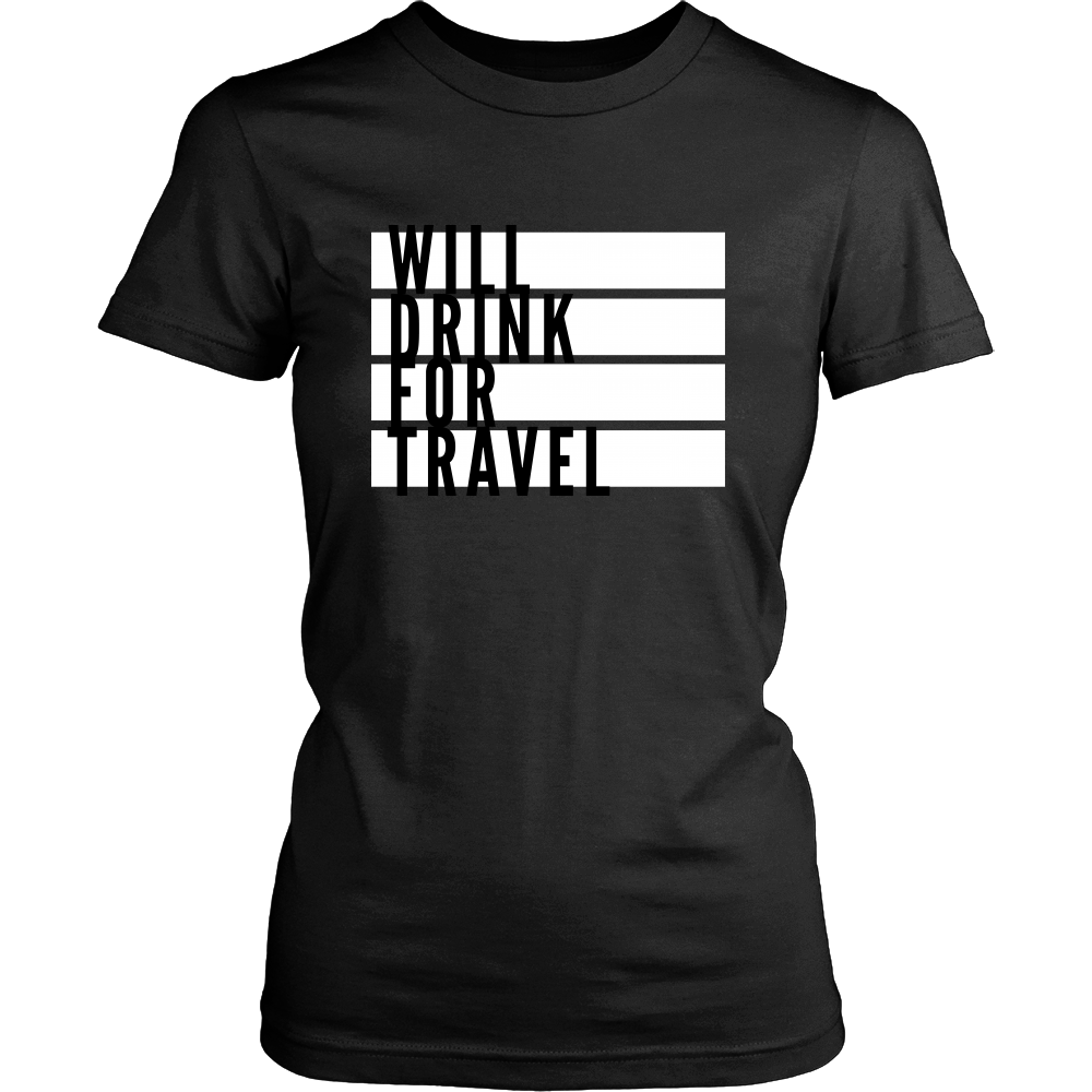 Women's Will Drink For Travel Flag Tee