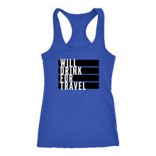 Women's Will Drink For Travel Flag Tank - White
