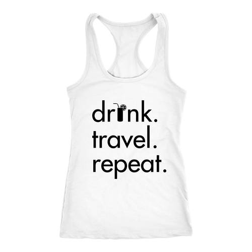 Drink Travel Repeat Tank - White