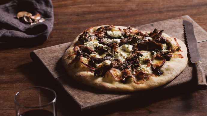 Lamb Shoulder, Kale, Goats Cheese & Black Garlic Pizza