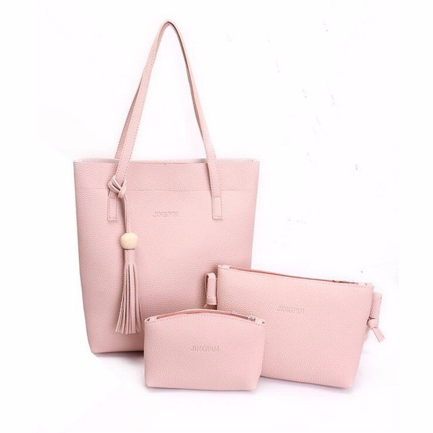 Stylish Women Leather Shoulder Bag Hand Bag Purse 3 Pcs