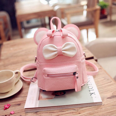 Super Adorable Bow Tie Cartoon Mouse Shaped Women Leather Backpack /School Bag
