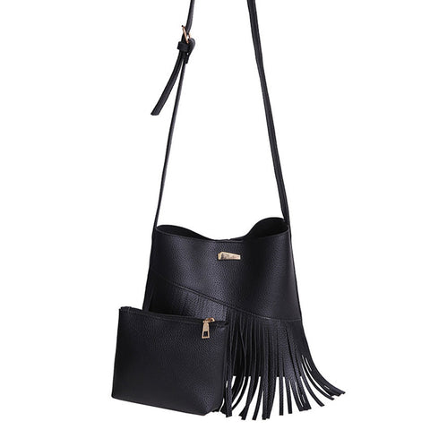 Versatile Tassel Design Women Shoulder Bag and Hand Bag (2 pcs) 2 for 1 price! (Multi colors)