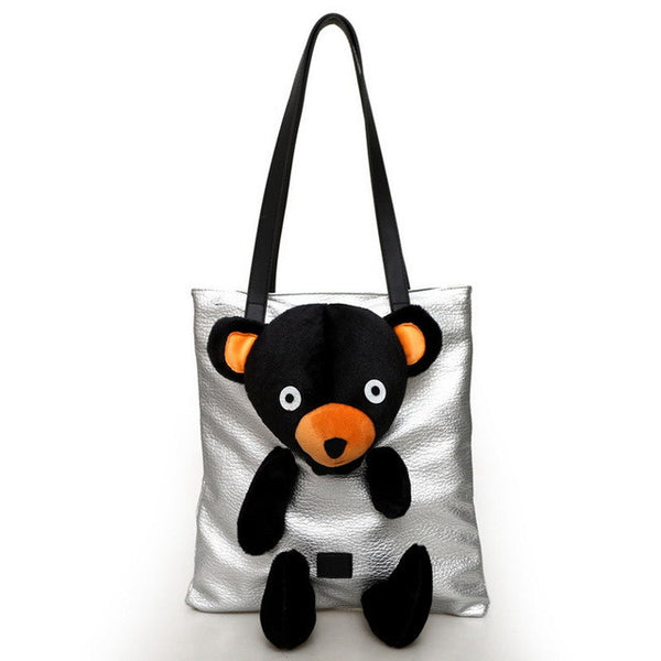 Plush Bear Design Women Leather Tote Bag / Shoulder Bag