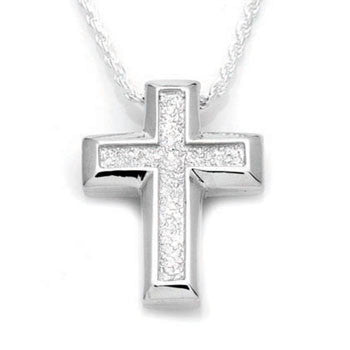 Small Sand Textured Cross - Forever Near Memorial Jewellery