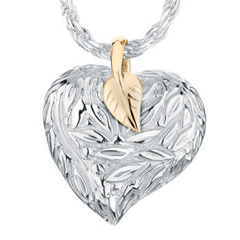 Leaves and Berries Heart Gold Accented - Forever Near Memorial Jewellery