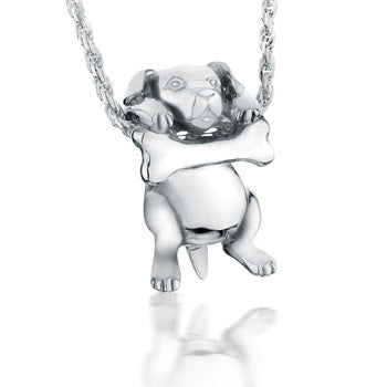 Wagging Dog With Bone - Forever Near Memorial Jewellery