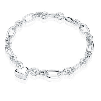 Oval Link with Heart Charm - Forever Near Memorial Jewellery