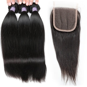 Premium Straight Virgin Hair With Lace Closure