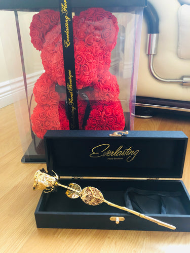 24k gold rose and medium teddy