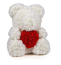 White rose teddy bear with red heart