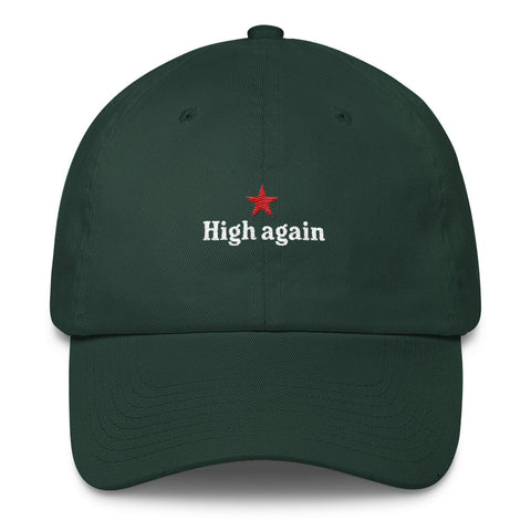 heneken logo parody high again green baseball hat with white embroidery and red star